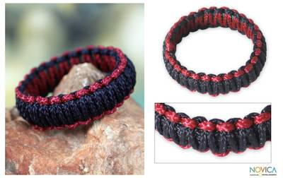 Bangle bracelet, 'Queen Amina in Navy and Wine' - Braided Cord Bangle Bracelet