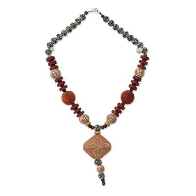 Agate and Ceramic Pendant Necklace