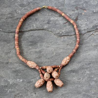 Bauxite and ceramic beaded necklace, 'New Ideas' - African Bauxite Beaded Necklace