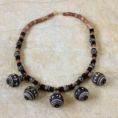 Bauxite and ceramic beaded necklace, 'Bold African Woman' - Bauxite and ceramic beaded necklace
