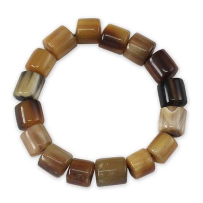 Bull horn stretch bracelet, 'Korleki in Brown' - Beaded Horn Bracelet
