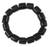 Bull horn stretch bracelet, 'Korleki in Black' - Fair Trade Bull Horn Beaded Bracelet (image 2a) thumbail