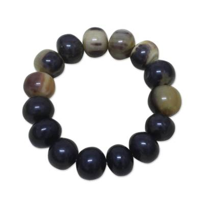 Men's bull horn bracelet, 'Ada King' - Men's Horn Beaded Bracelet