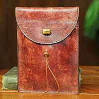 Leather Kindle case, 'Autumn Russet' - Leather Kindle Case from West Africa