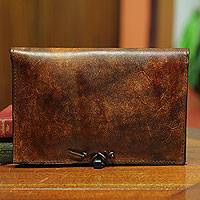Leather Kindle case, 'Mellowed Fortune' - Leather Kindle case