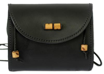 Leather shoulder bag, 'Never Without Black' - Leather shoulder bag