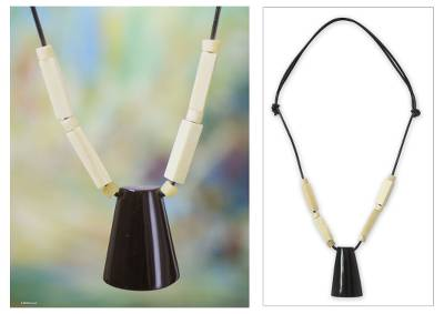 Leather and bone pendant necklace, 'Brave Warrior' - Hand Crafted Men's Horn and Leather Necklace from Africa