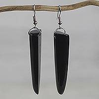 Bull horn dangle earrings, 'Black Enyefewu' - African Horn Dangle Earrings