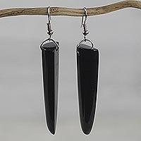 Bull horn dangle earrings, 'Black Enyefewu'