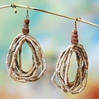 Terracotta beaded earrings, 'Earth Fantasy'