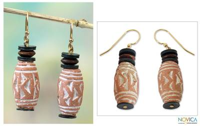 Terracotta beaded earrings, 'Dondo' - Unique Ceramic Dangle Earrings