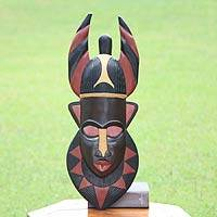 Ghanaian wood mask, 'Horns of Power' - African wood mask