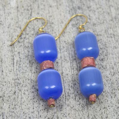 Beaded earrings, 'Odehye' - Cat's Eye and Bauxite Beaded Earrings