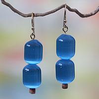 Beaded earrings, 'Odehye Blue' - Beaded earrings