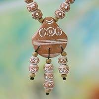 Ceramic and wood pendant necklace, 'Mamprusi Love' - Handcrafted Ceramic Pendant Necklace from Africa