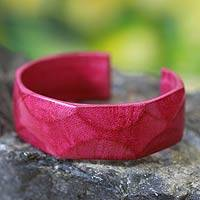 Leather cuff bracelet, 'African Rose' - African Leather Cuff Bracelet