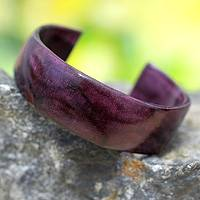 Leather cuff bracelet, 'Dasba in Purple' - Hand Crafted Modern Leather Cuff Bracelet