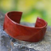 Leather cuff bracelet, 'African Brown' - Brown Leather Cuff Bracelet