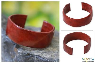 Leather cuff bracelet, 'African Brown' - Leather Cuff Bracelet