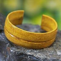 Leather cuff bracelet, 'Antiri' - Yellow Handcrafted Leather Bracelet from Ghana