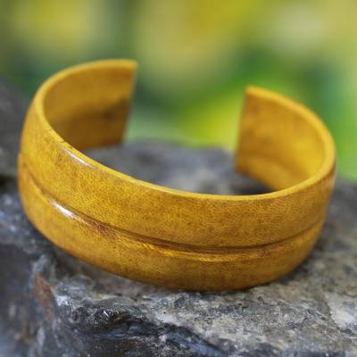 Leather cuff bracelet, 'Antiri' - Yellow Leather Cuff Bracelet