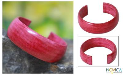 Leather cuff bracelet, 'Annula in Pink' - African Modern Leather Cuff Bracelet