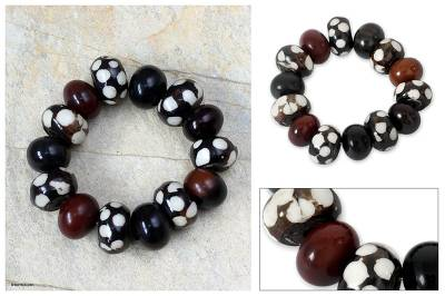 Bone and horn beaded bracelet, 'Sahel' - Artisan Crafted Horn Bracelet from Africa