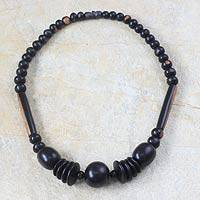 Ebony wood beaded necklace, 'Bakin Keu'a' - Ebony Wood Beaded Necklace