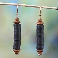 Beaded dangle earrings, 'Paglayiri' - Hand Made African Recycled Dangle Earrings