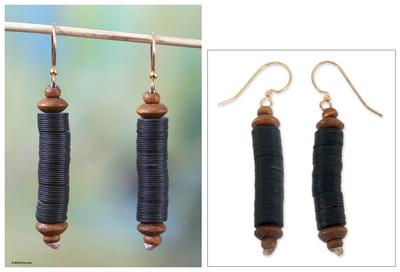 Beaded dangle earrings, 'Paglayiri' - Hand Made African Recycled Dangle Earrings