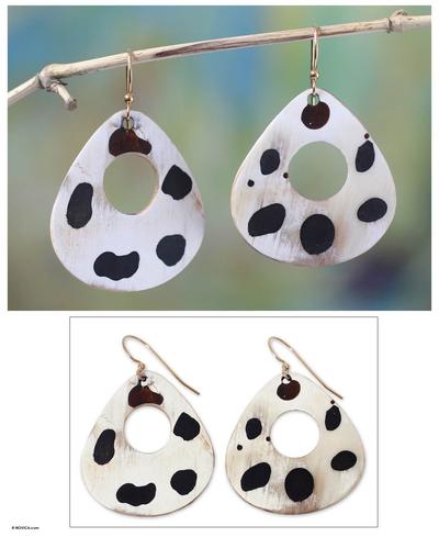 Bull horn dangle earrings, 'Mottled Awaayi' - Handmade Horn Dangle Earrings