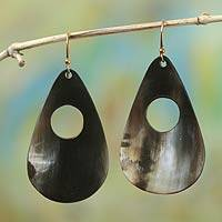 Bull horn dangle earrings, 'Awaayi' - Hand Crafted Horn Dangle Earrings