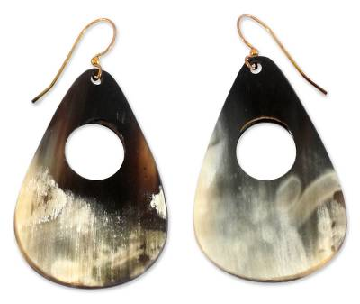 Hand Crafted Horn Dangle Earrings
