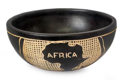 Wood decorative bowl, 'African Beauty' - Wood decorative bowl