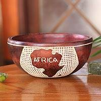 Wood decorative bowl, 'African Heritage' - Wood decorative bowl