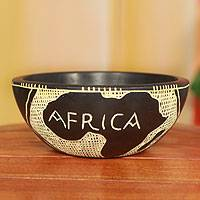 Wood decorative bowl, 'African Map' - Handcrafted Wood Decorative Bowl from Ghana