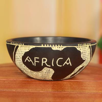 Handcrafted wood decorative bowl from ghana african map novica