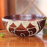 Wood decorative bowl, 'Village of Happiness' - Wood decorative bowl