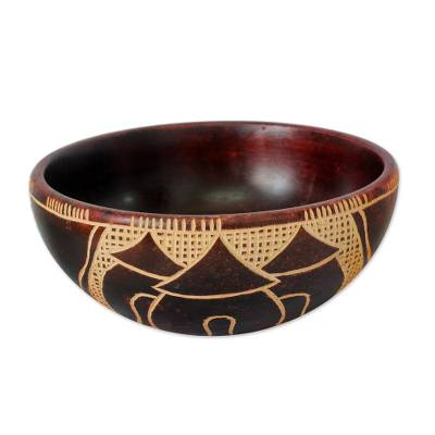 Wood decorative bowl, 'Village of Happiness' - Wood decorative bowl