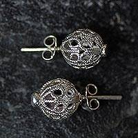 Sterling silver button earrings, 'African Filigree' - Handcrafted Sterling Filigree Studs from Ghana