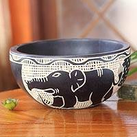Wood decorative bowl, 'African Wildlife' - Handcarved Wooden Bowl