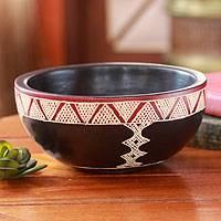 Wood centerpiece, 'Four Paths' - Decorative African Centerpiece Wood Bowl