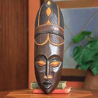 African wood mask, 'Baule Harvest' - African Baule Tribe Wood Mask