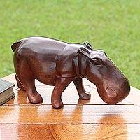 Ebony wood sculpture, 'Sacred Hippo'