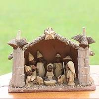 Wood nativity scene, 'African Palm House'