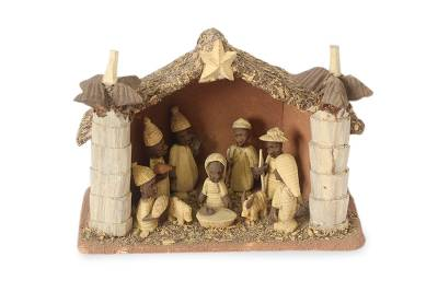 Wood nativity scene, 'African Palm House' - Wood Nativity Scene