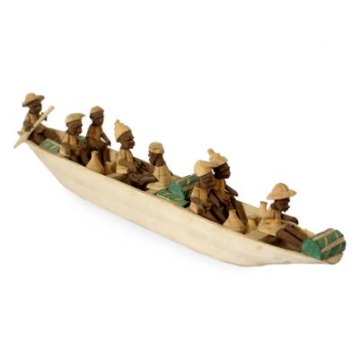 Wood sculpture, 'Boat of Eight' - African Wood Sculpture