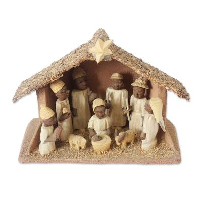 Wood nativity scene, 'Holy Birth' - Handcrafted Wood Nativity Religious Sculpture