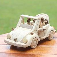 Wood sculpture, 'Convertible Car' - Wood sculpture