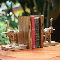 Wood bookends, 'Good Luck Elephant' (pair) - Handcrafted Wooden Elephant Bookends from West Africa